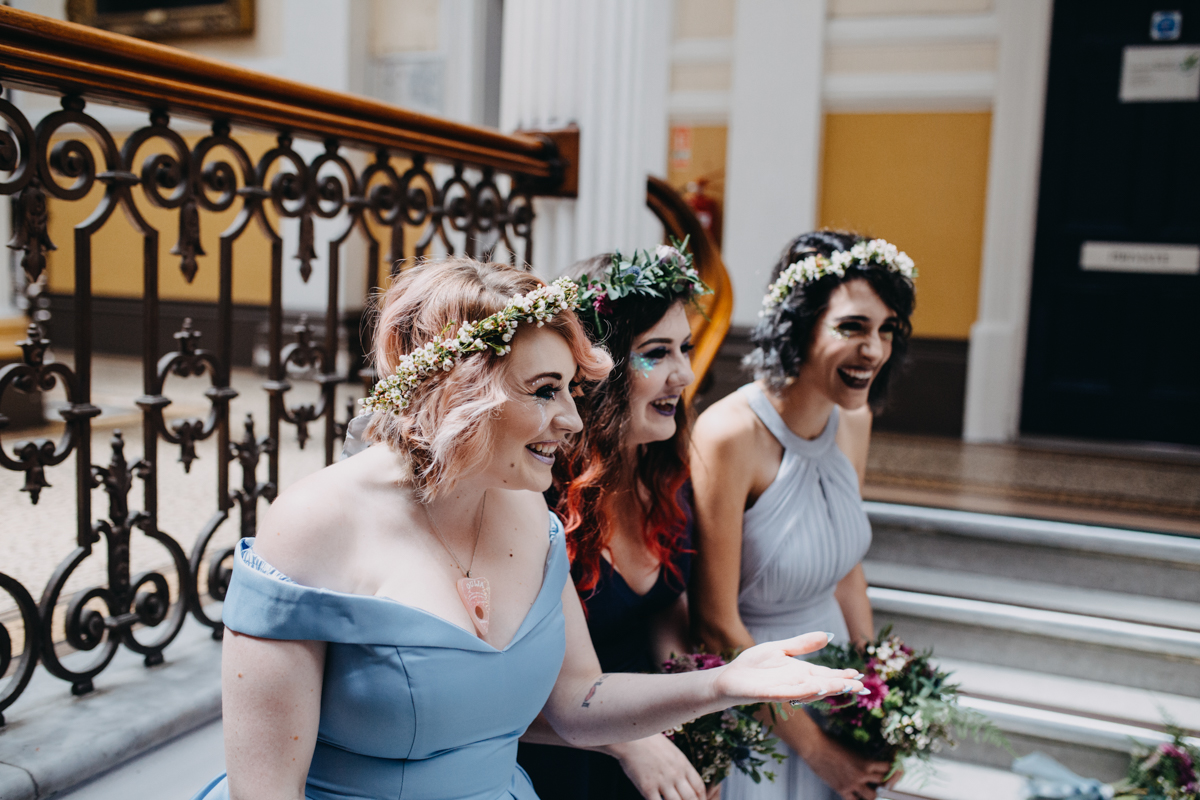 bridesmaids in asos dress at tattoo skater wedding in brighton