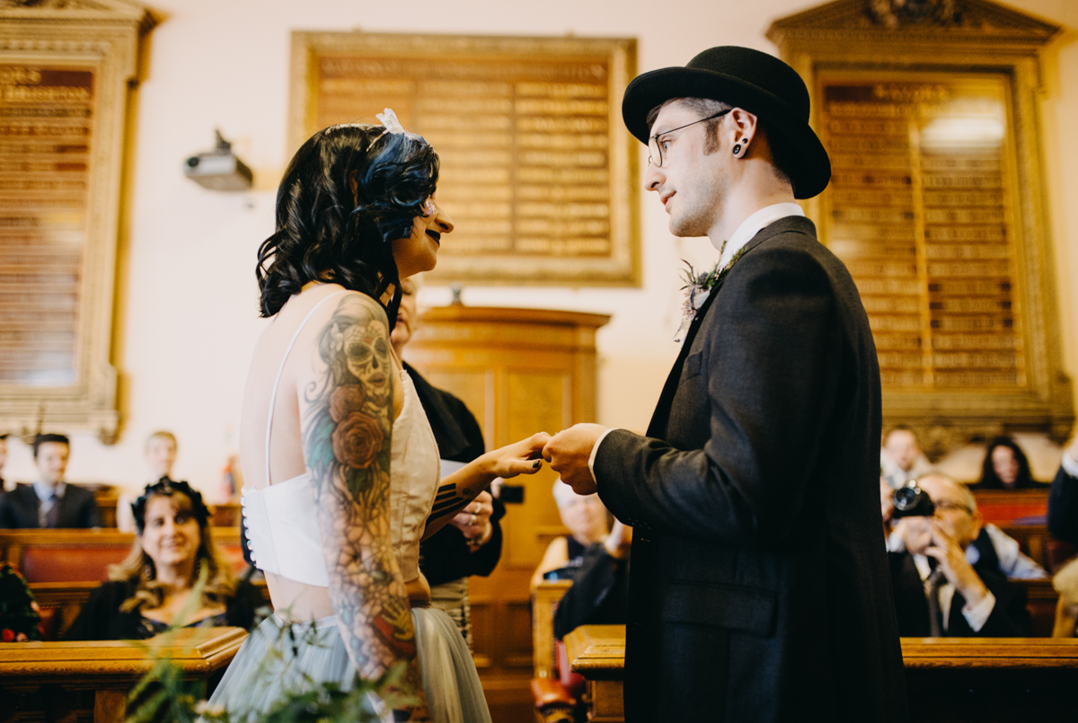 tattoo skater wedding in brighton ring exchange