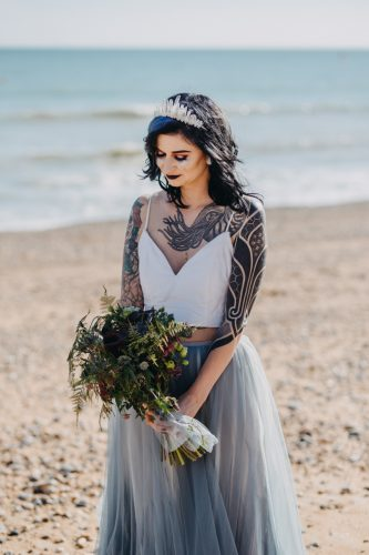 alternative bride on brighton beach