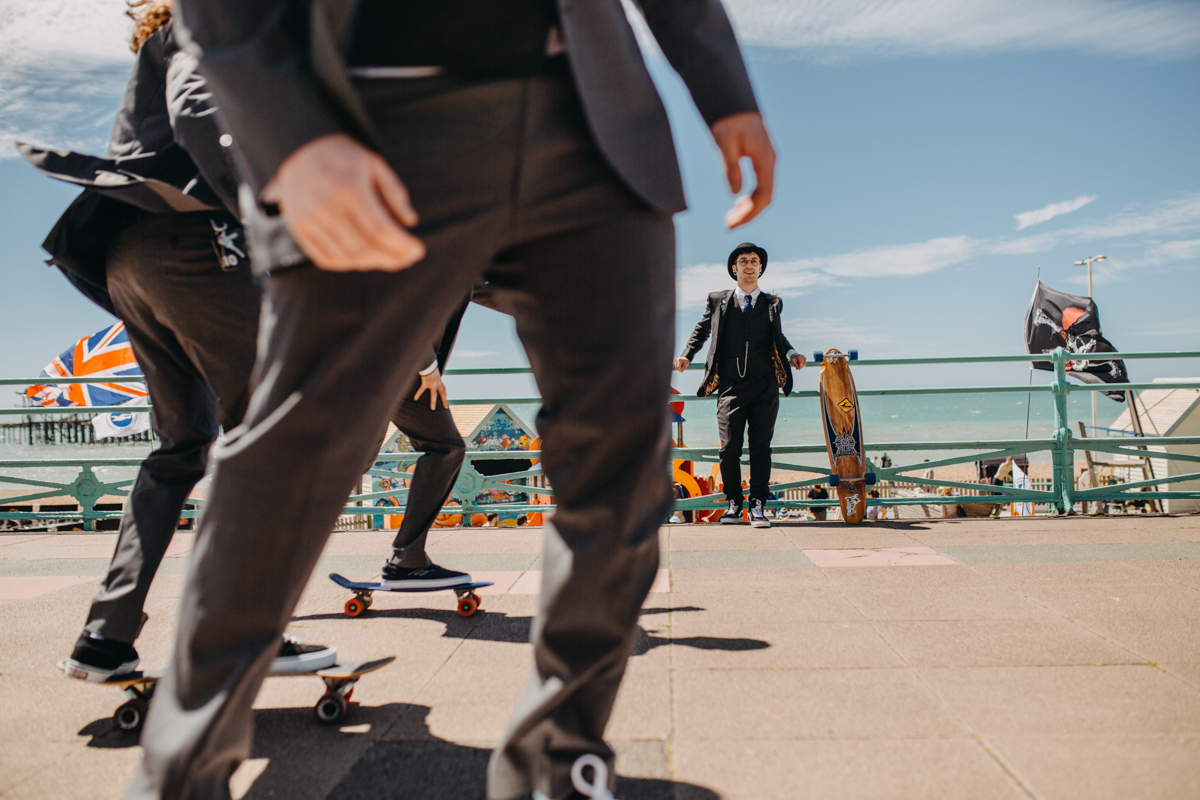 alternative groom skateboard to tattoo skater brighton wedding